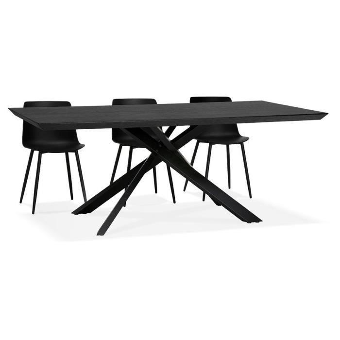 Table à diner design avec pied central en x 'WALABY' en bois noir - 200x100 cm