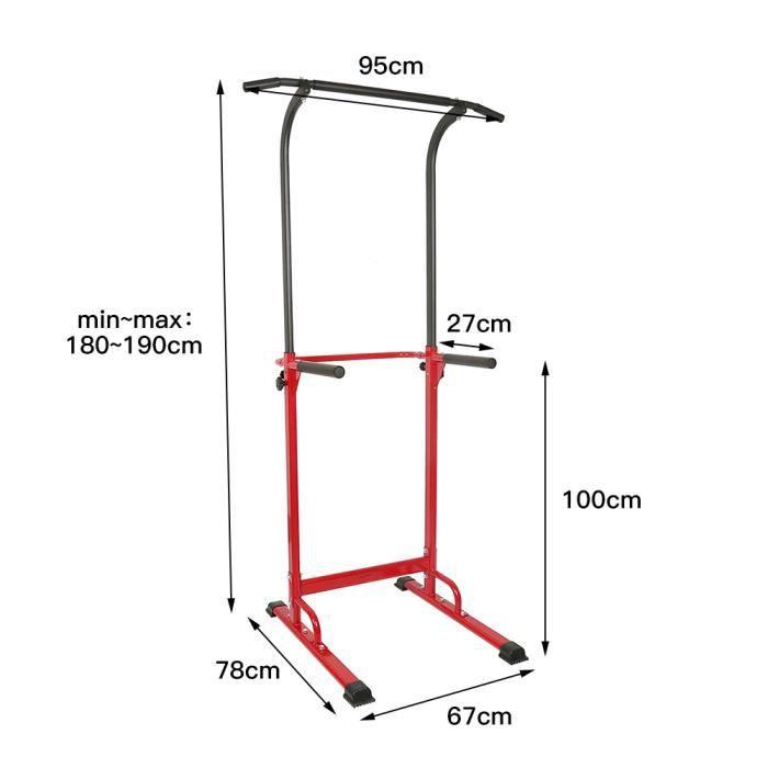 BUL Barre de Traction Ajustable Multifonctions, Entraîneur de barres parallèles horizontales, Hauteur Réglable - Fitness