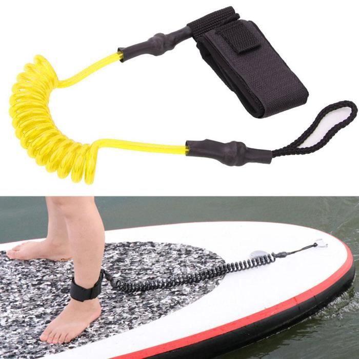 Durable TPU élastique pied corde laisse extensible pour planche de surf planche de paddle (jaune blanc) -JIA