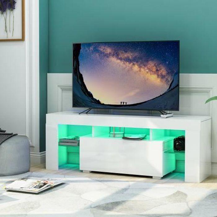 Meuble TV contemporain BLANC LED RGB - 130 x 45 x 35 cm