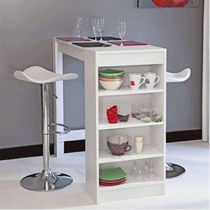 Table de bar mange-debout avec 4 étagères et plateau en MDF Blanc