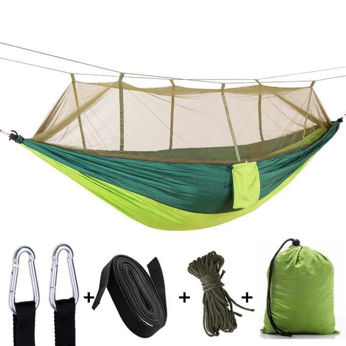 Hamac extérieur moustiquaire camping avec moustiquaire en nylon ultra-léger tente de camping double en nylon-Vert