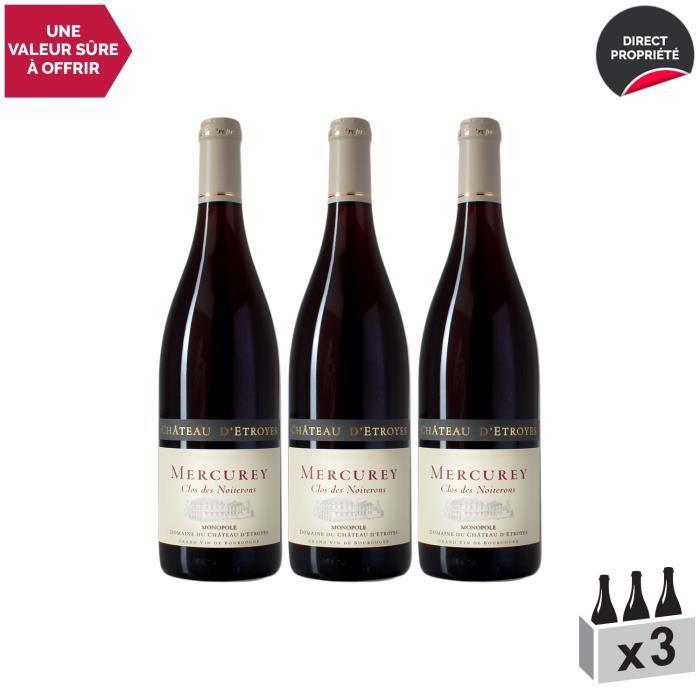 Mercurey Le Clos des Noiterons MONOPOLE Rouge 2018 - Lot de 3x75cl - Château d'Etroyes - Vin AOC Rouge de Bourgogne - Cépage Pinot