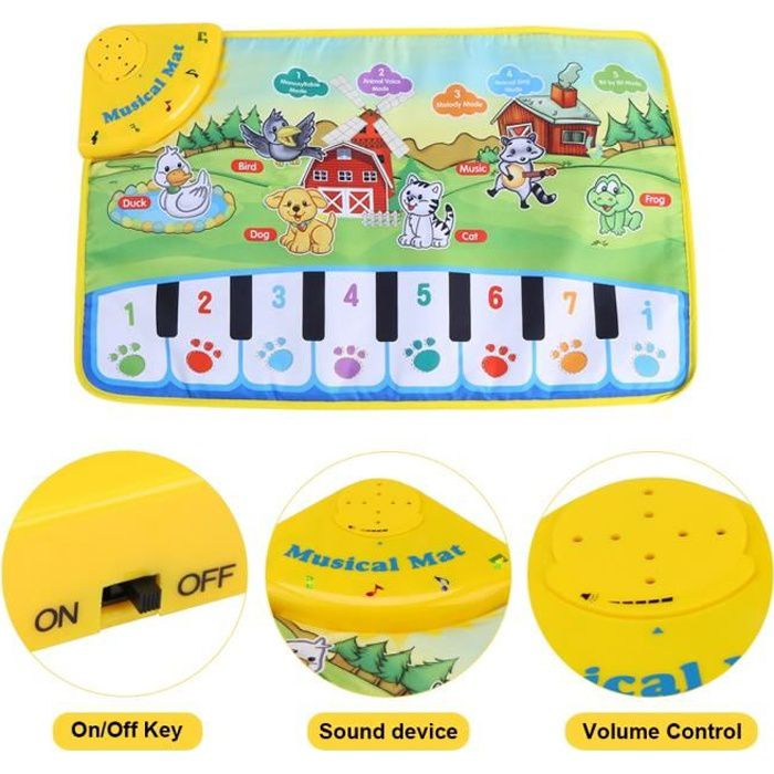 Tapis de musique pour bébé tapis de piano pour enfants cadeau musical pour enfants jouet éducatif-FAC