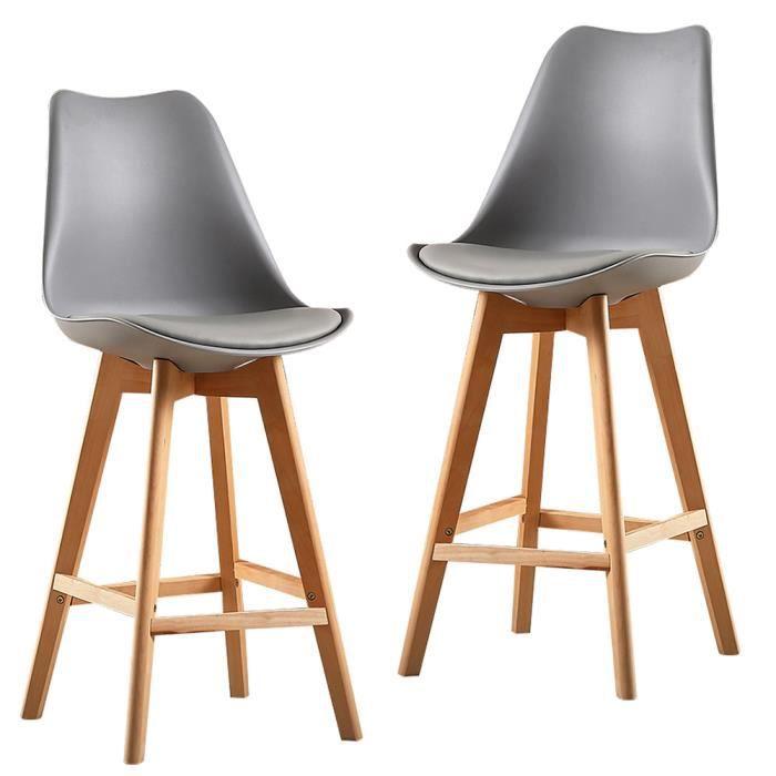 Tabourets de Bar - Pieds en Bois de hêtre - Hauteur de l'Assise 70 cm, Assise en Plastique ABS - 2PCS Gris