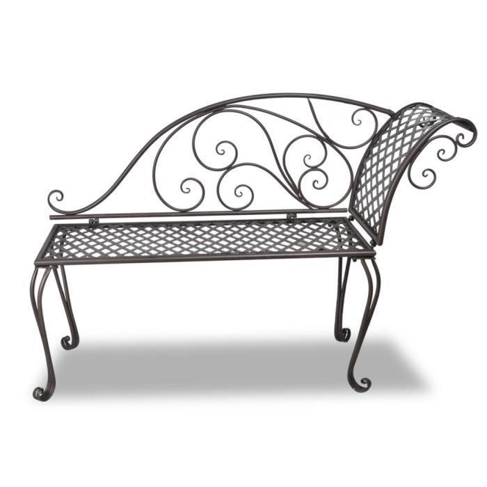 Bancs d'exterieur Chaise longue en metal brun a motif de volute