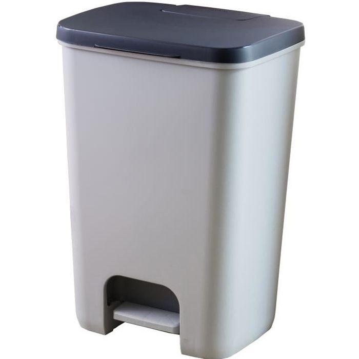 CURVER Essentials Poubelle À Pédale 40 L - Plastique - Gris-Anthracite 37 5890