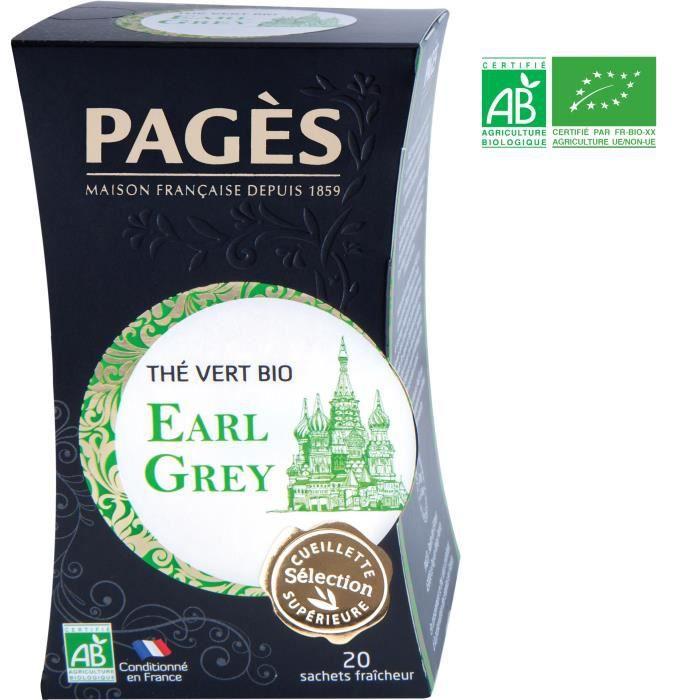 PAGES Thé Vert Earl Grey - Bio