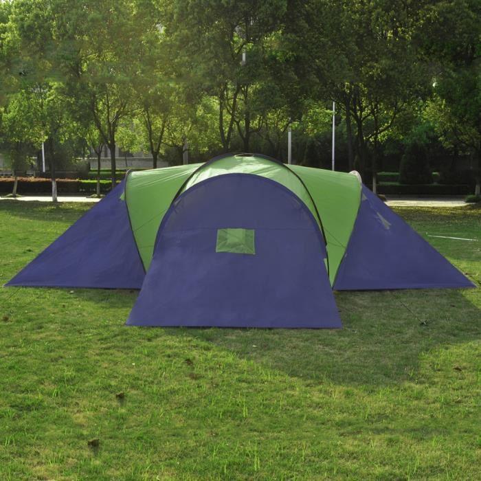 Tente 3 compartiments 9 personnes bleue et verte
