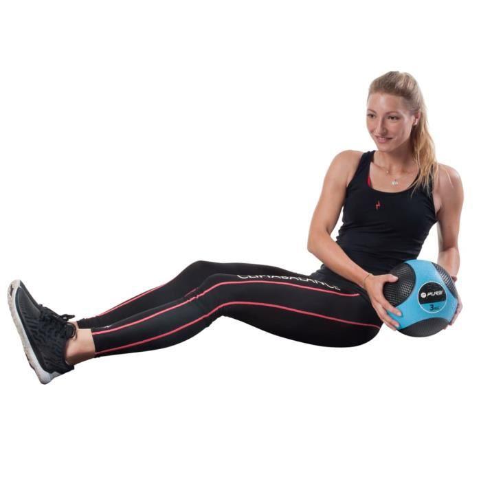Pure2Improve Balle de médecine - Ballon médicinal - MEDECINE BALL - BALLON DE MUSCULATION - 3 kg Bleu