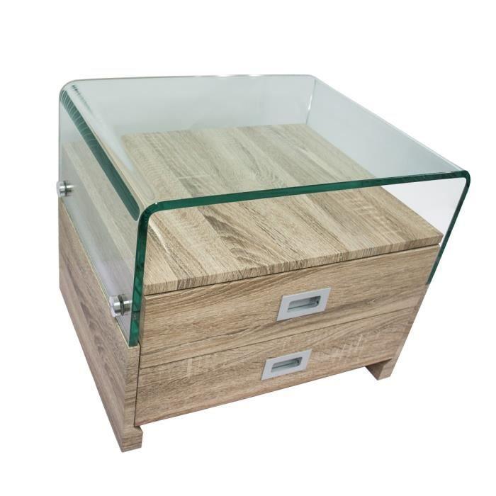 Table de chevet design WOOD CLEAR avec 2 tiroirs (S 17)