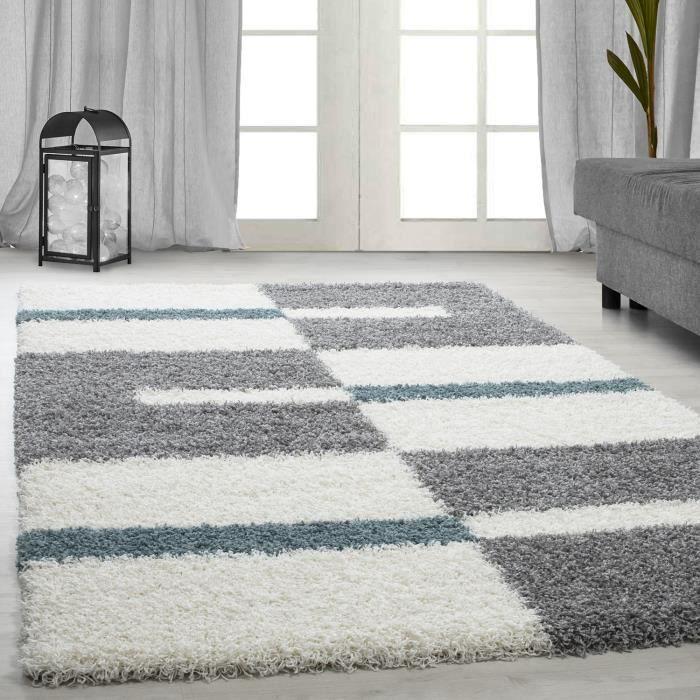 tapis Shaggy Shaggy gris rayé vert rouge tapis beige de salon [turquoise, 160x230 cm]