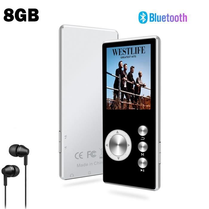 SOTEFE® 8Go Lecteur MP3 Bluetooth Portable Métal Lecteur MP3 Radio FM Vidéo Hi-Fi Musique Super Son Enregistr Support Micro SD Carte