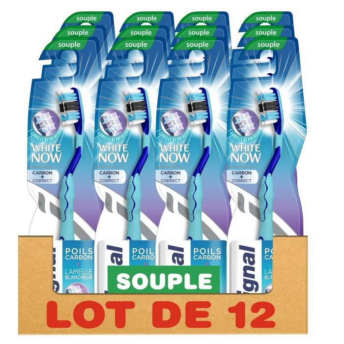 SIGNAL Lot de 12 Brosses à dents White Now Manuelle Souple Poils