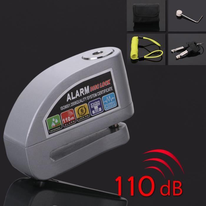 (Gris)Antivol Bloque Disque Alarme Serrure Étanche sans piles +1.2m Câble Antivol(vert)Sécurité à Ressort Kit de Moto, Vélo, VTT