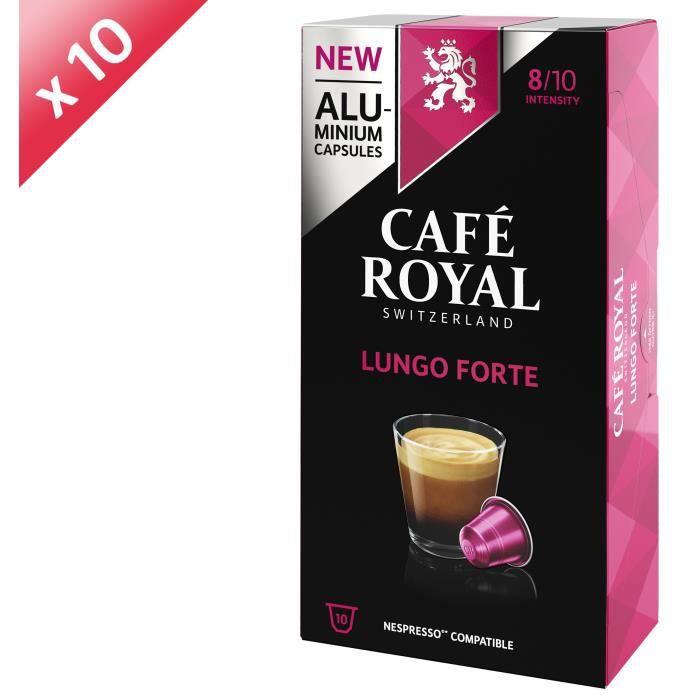 [LOT DE 10] CAFE ROYAL Café Lungo Forte - Compatible Nespresso aluminium - 10 capsules