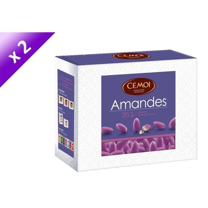 CEMOI Boîte Dragées Amandes violette 35 % - 375 g x2