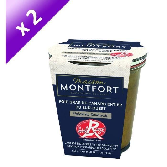 [LOT DE 2] MAISON MONTFORT Foie gras de canard entier - LABEL ROUGE - Recette au poivre de sarawak - 180 g
