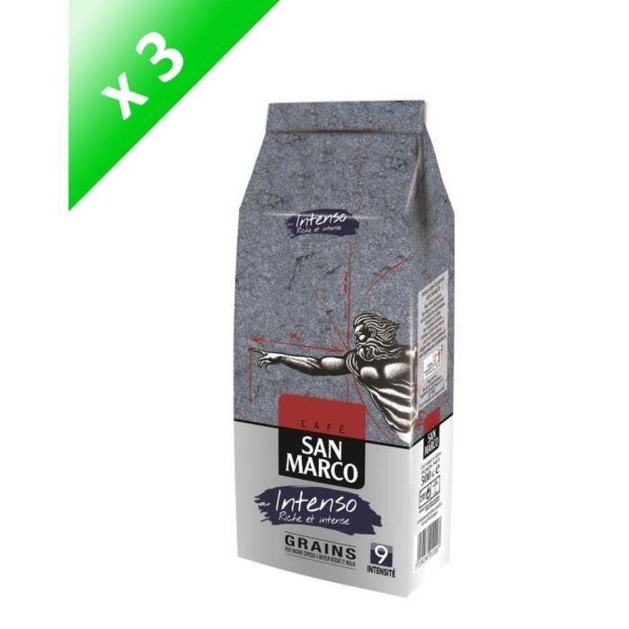 SAN MARCO Lot de 3 Cafés Intenso Grain - 500 g