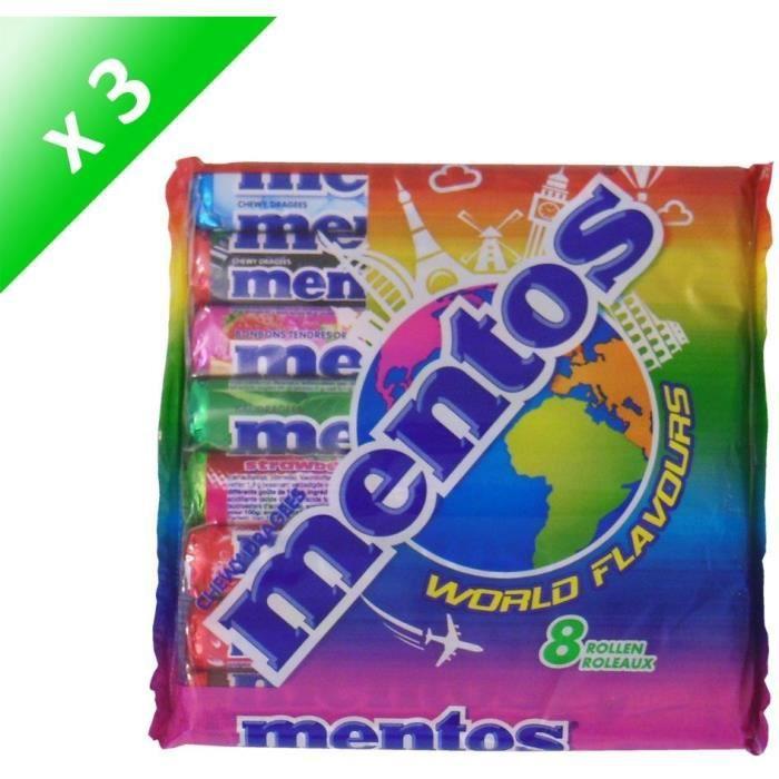 [LOT DE 3] MENTOS Pack de 8 rouleaux assortis - World Flavours