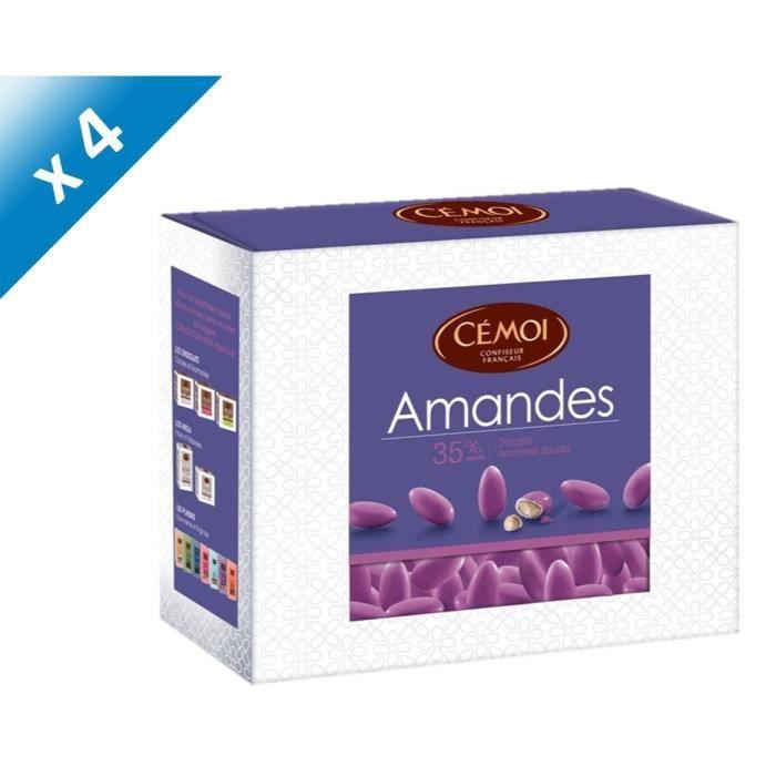 [LOT DE 4] CEMOI Boîte Dragées Amandes violette 35 % - 375 g