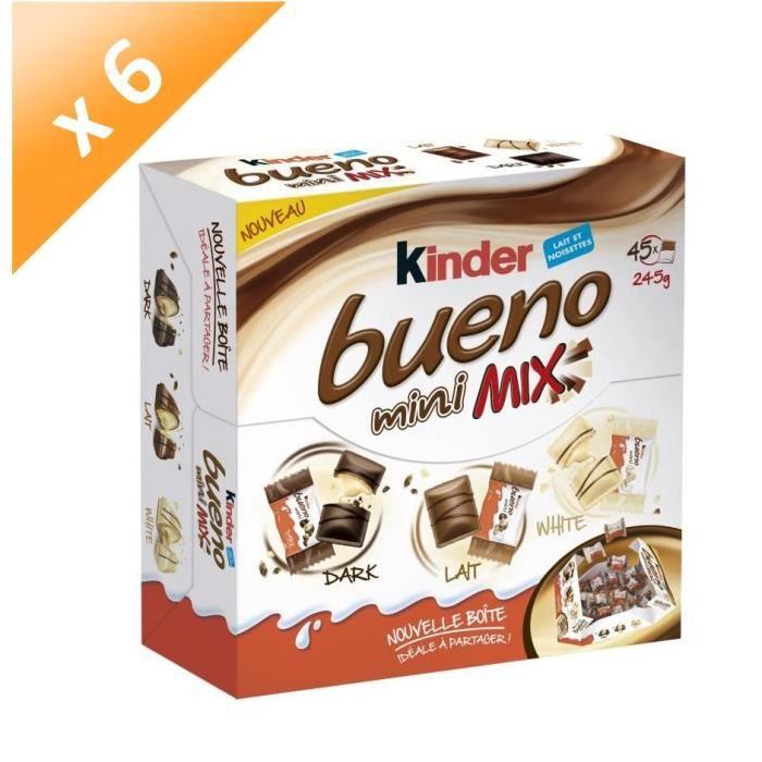 [LOT DE 6] KINDER BUENO Mini Mix chocolatées T45, au lait et noisettes - 245 g