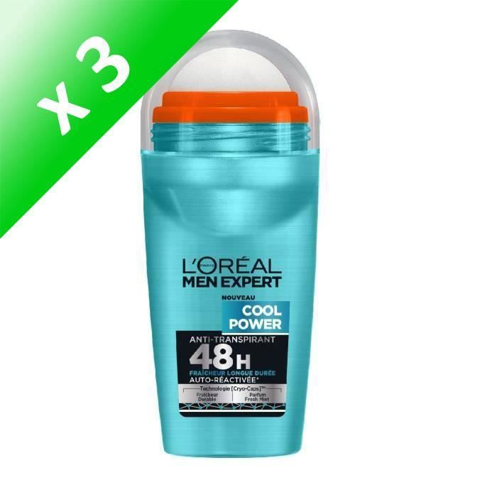 L'Oréal Men Expert Cool Power Déodorant Homme Bille Fraicheur - 50 ml (Lot de 3)