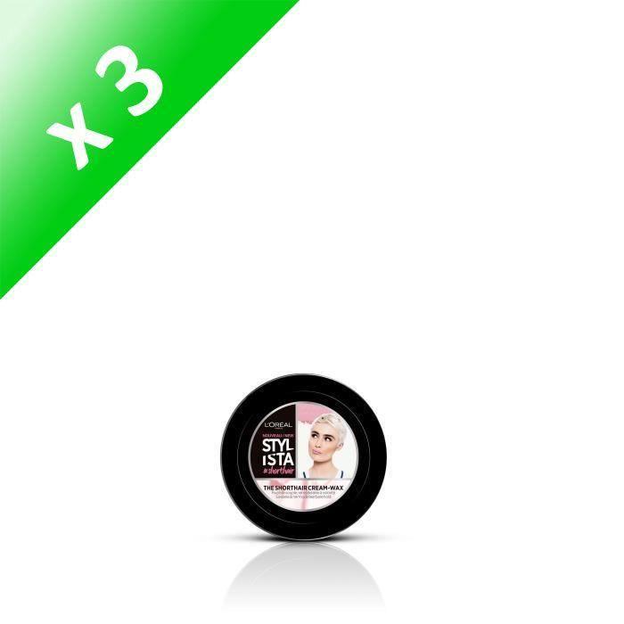 STYLISTA Cire-en-crème coiffante cheveux courts The Shorthair - 75 ml - Beige clair (Lot de 3)