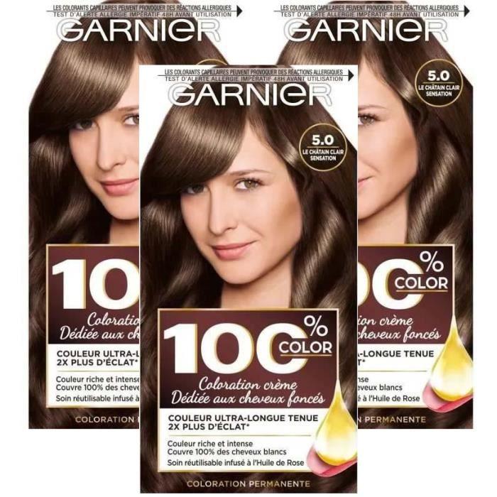 GARNIER Coloration permanente 100% Ultra brun - Chatain clair sensation (Lot de 3)