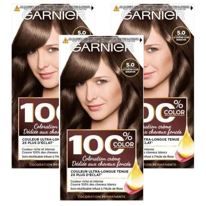 GARNIER - Coloration - Kit Racines réutilisable 100% ULTRA BRUN - 5 LE CHATAIN CLAIR SENSATION (Lot de 3)