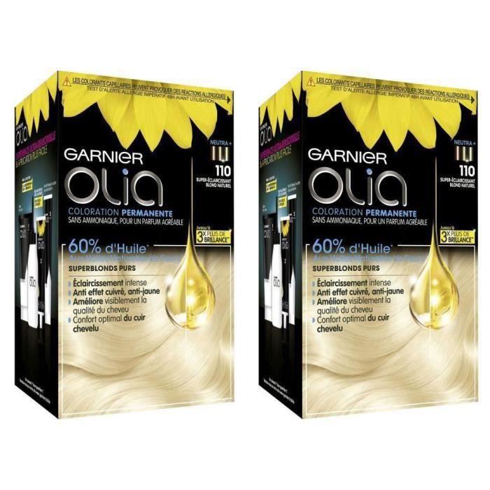GARNIER Coloration Olia superblonds 110 super Coloration éclaircissant blond naturel (Lot de 2)
