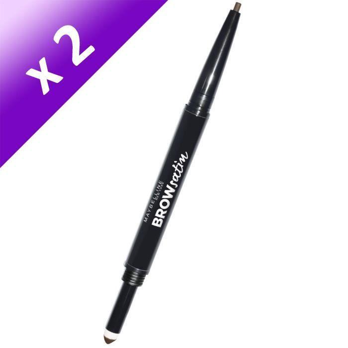 MAYBELLINE Crayon à sourcils Duo Brow Satin - Medium Brown (Lot de 2)