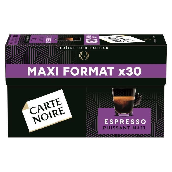 LOT DE 8 - CARTE NOIRE Café capsules Espresso Puissant n°11 Compatible Nespresso - Boite de 30 capsules - 168g