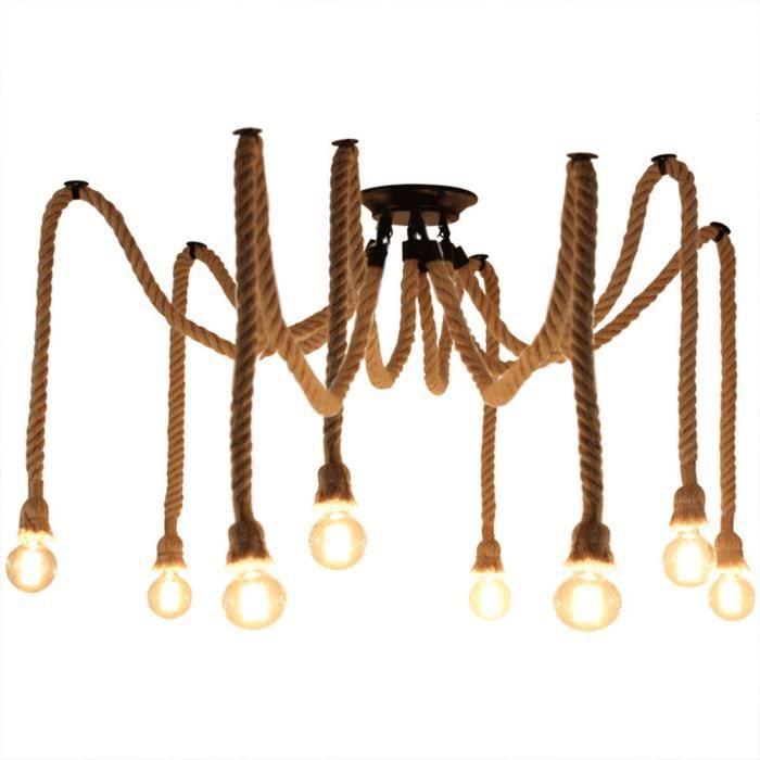 EXBON 8 Tête Lustre Suspension Araignee Industrielle Lampe Plafond Corde de Chanvre Luminaire pour Restaurant Hôtel