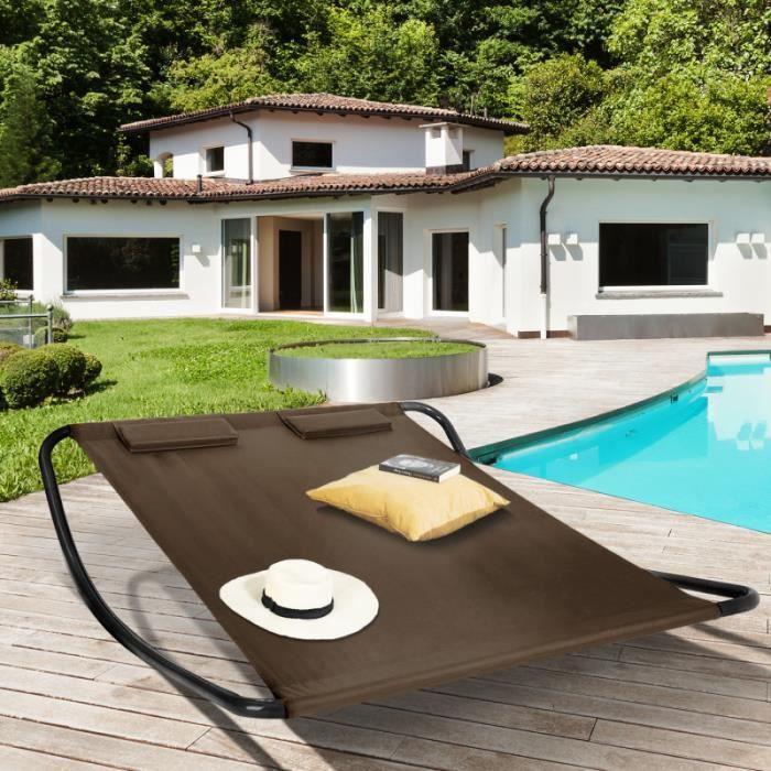 ID MARKET - Lit bain de soleil 180 CM toile chocolat structure gris foncé