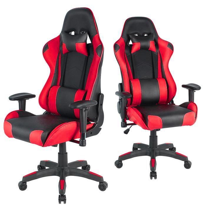 JEOBEST® Chaise de bureau GAMING fauteuil ergonomique avec coussins, noir/rouge