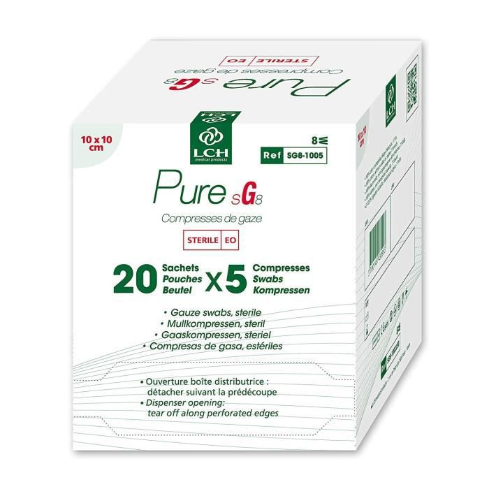 Lot de 12 boites de 100 Compresses de gaze stérile PURE 10x10 cm - Boite de 20 sachets de 5 compresses