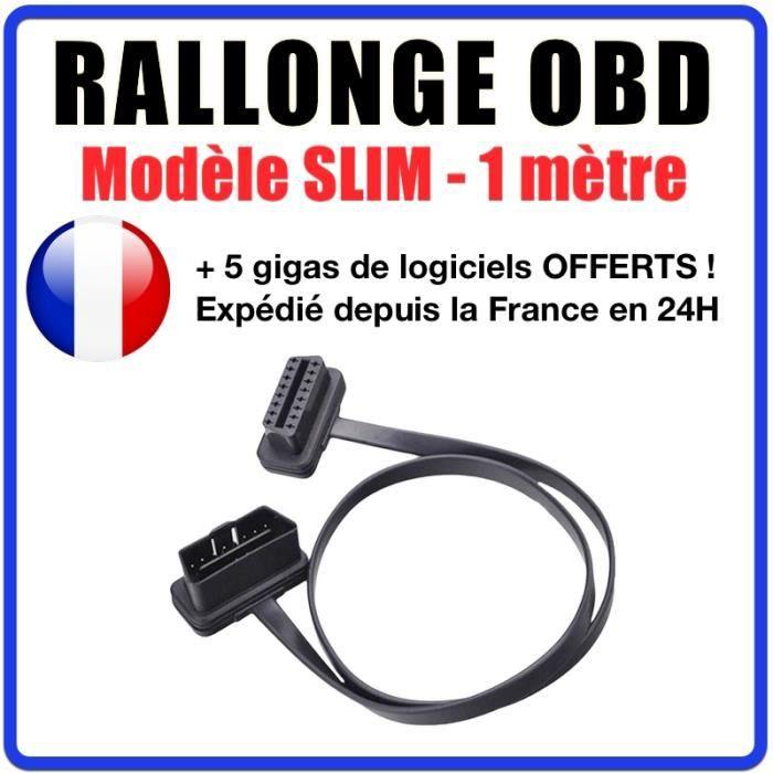 Rallonge OBD Slim - Modèle 1 mètre - Diagnostic Auto - Compatible avec Valises de Diagnostic - OBD2