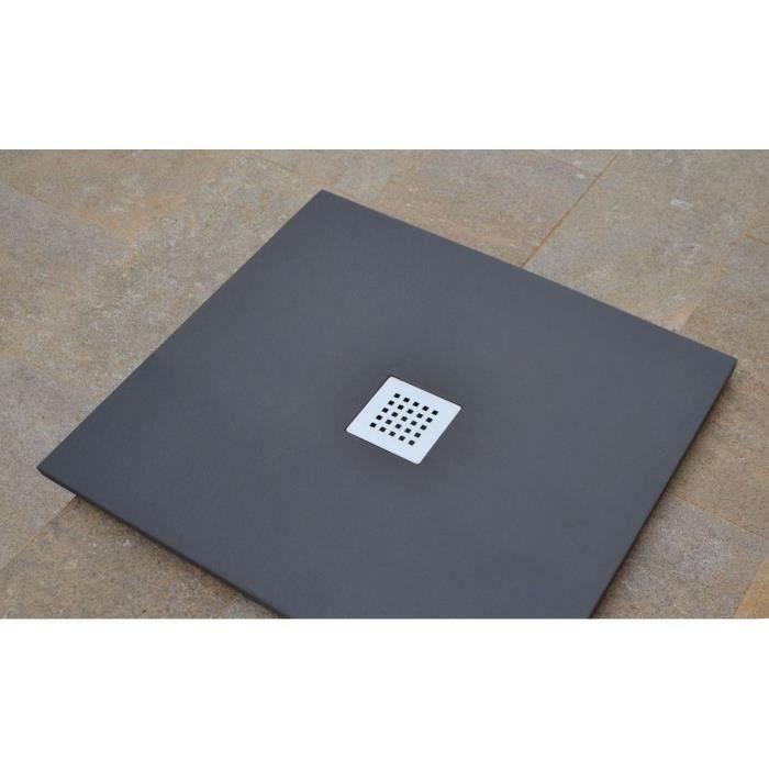 MITOLA Receveur de douche carré à poser Liwa - 80 x 80 cm - Résine composite - Gris anthracite - Bonde au centre