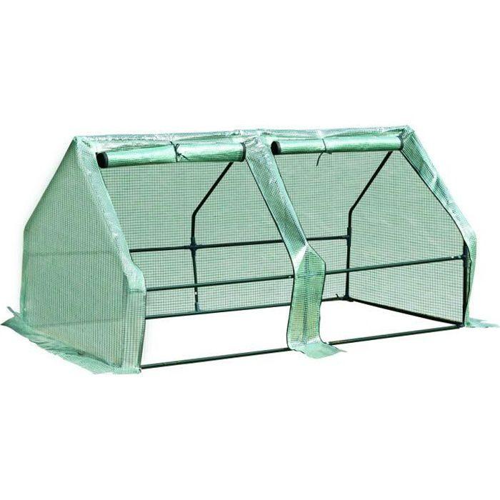 Mini serre de jardin serre à tomates 180L x 90l x 90H cm acier PE haute densité 140 g/m² anti-UV 2 fenêtres avec zip enroulables