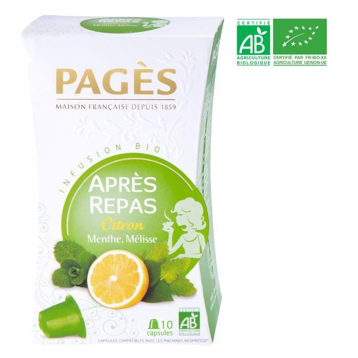 PAGES Infusion Après-Repas - Citron, Menthe, Mélisse - Capsules - Bio
