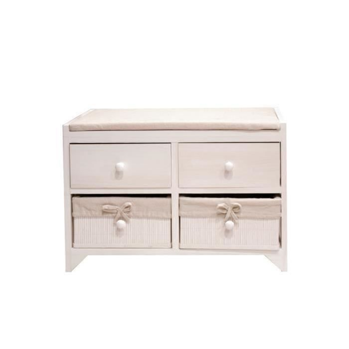 meuble de salle de bain en bois laqué blanc - Dim : 60 x 31 x 43 cm