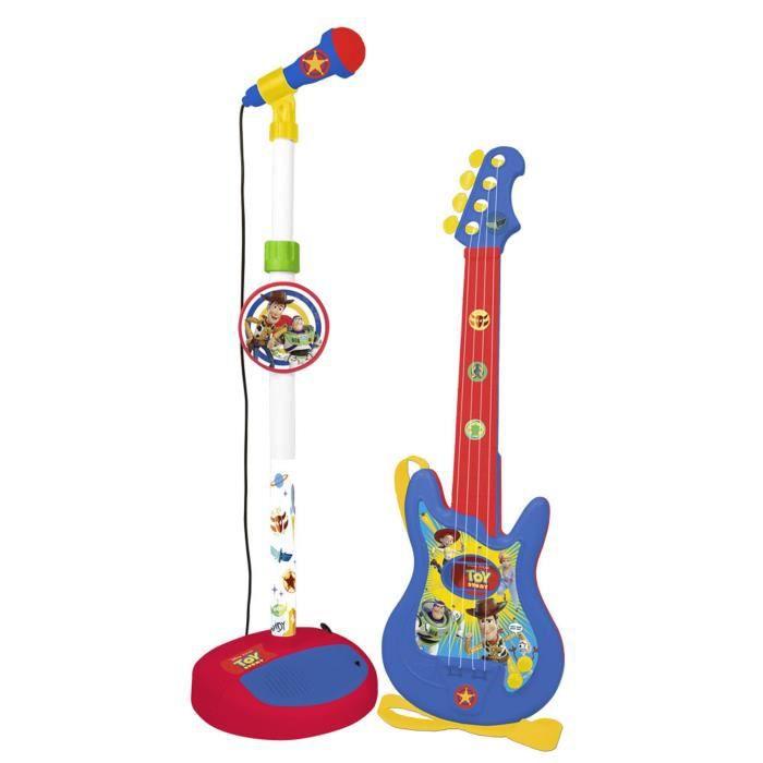 DISNEY TOY STORY Ensembles Guitare 4 cordes et microphone - Fonctione avec 4 piles 1,5V (type AA-R6)