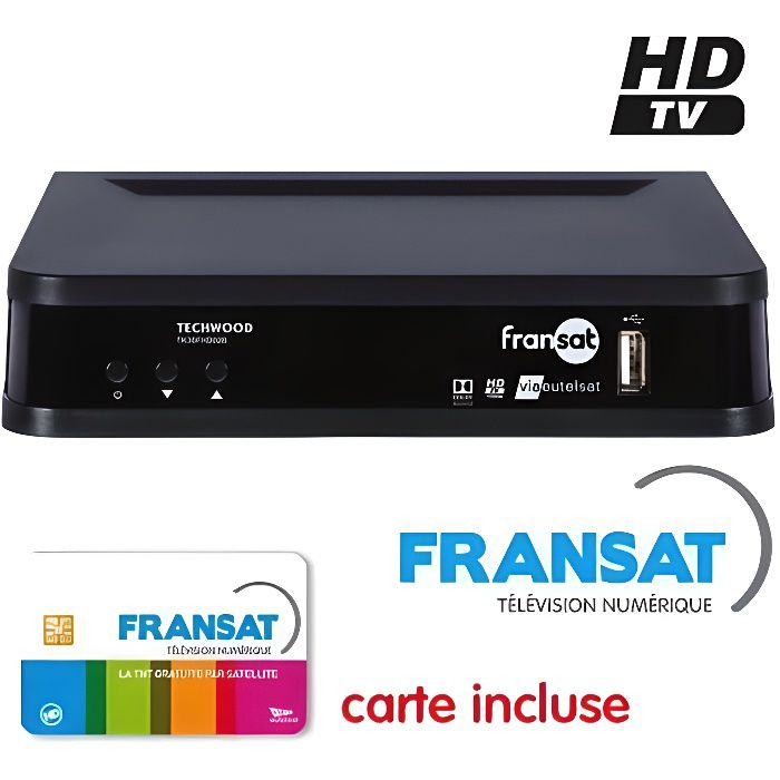 TECHWOOD FRANSAT HD Décodeur satellite + Carte FRANSAT + Cable 12V + Deport IR + Cable HDMi