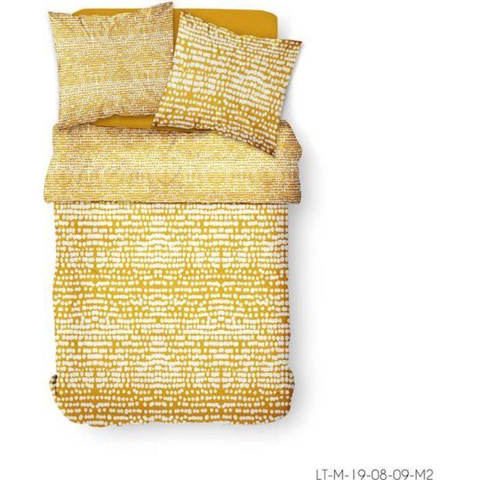 Parure de lit 2 personnes 220X240 Coton imprime jaune Graphique SUNSHINE 3.54
