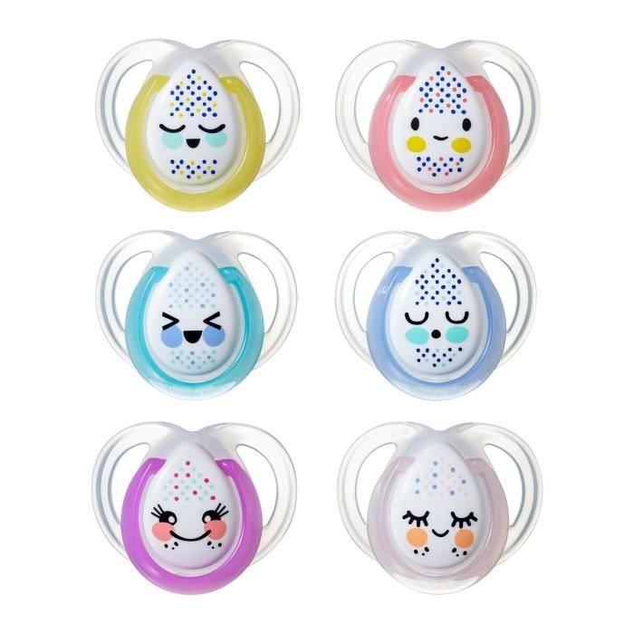 TOMMEE TIPPEE Pack de sucettes 4+2 - Nuit 0-6mois