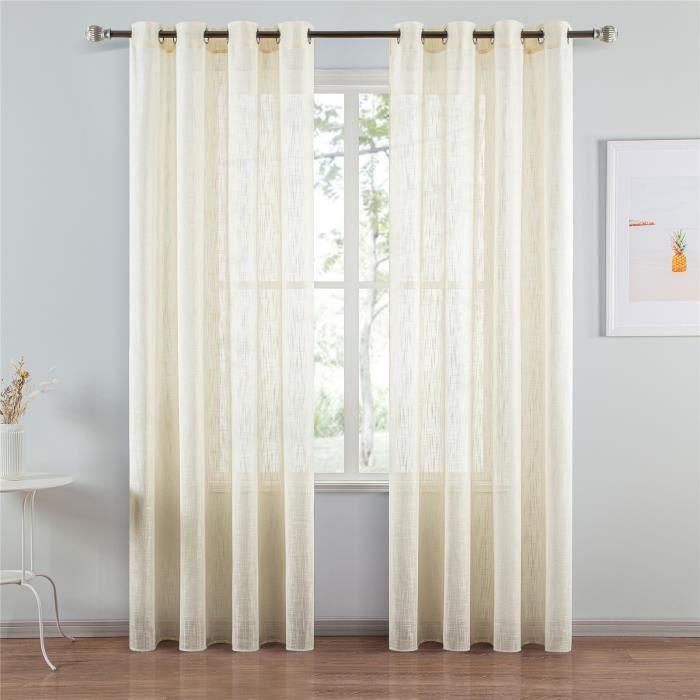 Rideau Voilages en Lin Beige 140x220 cm - pour Salon Chambre Moderne - 2pcs - Topfinel
