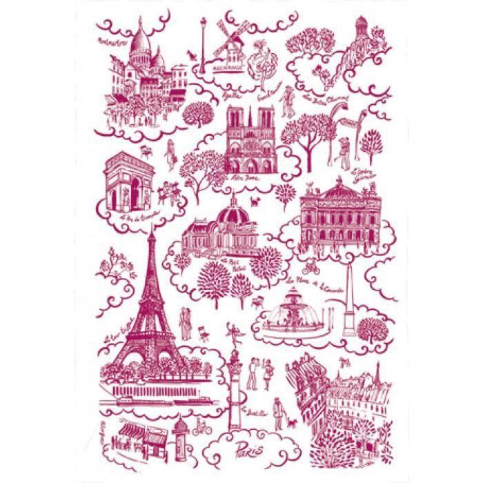 TORCHON PARIS TOILE DE JOUY ROUGE Torchons & Bouchons