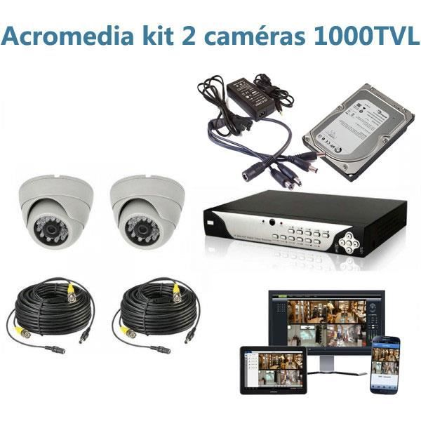 kit de vid o surveillance 2 cam ras 1000tvl prix pas cher cdiscount. Black Bedroom Furniture Sets. Home Design Ideas