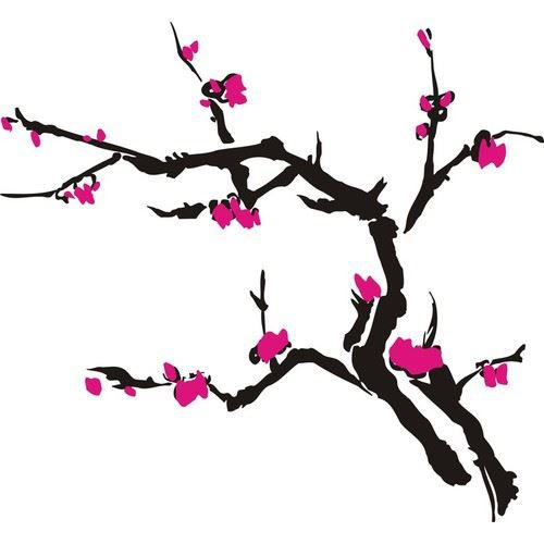 sticker arbre japonais noir et rose 1 2x1 2m achat vente stickers cdiscount. Black Bedroom Furniture Sets. Home Design Ideas